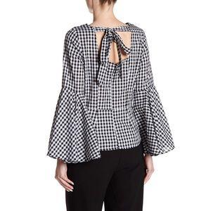 Nanette Lepore Black White Gingham Bell Sleeve Top